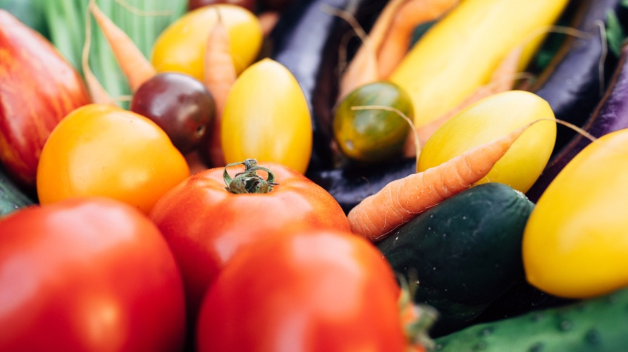 Tomatoes, cucumbers, carrots and other vegetables