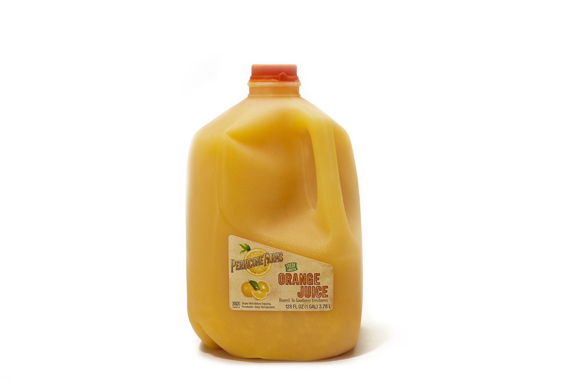 Gallon jug of fresh orange juice